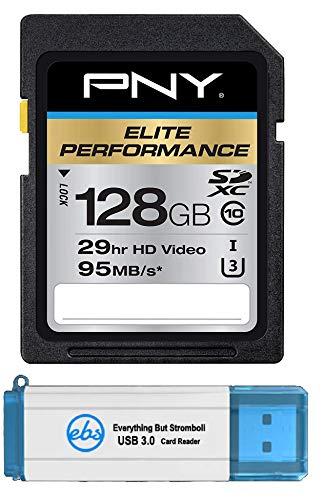 PNY 128GB SDXC Elite Performance Memory Card (P-SDX128U395-GE) Works with Panasonic HC-WXF991K, HC-VX981K, HC-V770 Video Camera Camcorder Bundle with 1 Everything But Stromboli 3.0 SD/Micro Reader