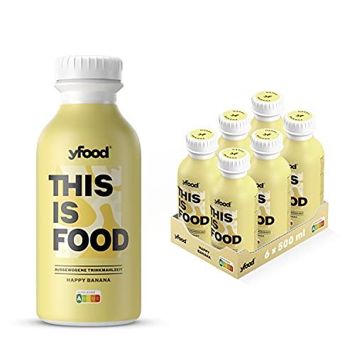yfood Banane | Leckere Trinkmahlzeit für unterwegs | THIS IS FOOD Drink | 34g Protein, 26 Vitamine und Mineralstoffe (6 x 500ml)