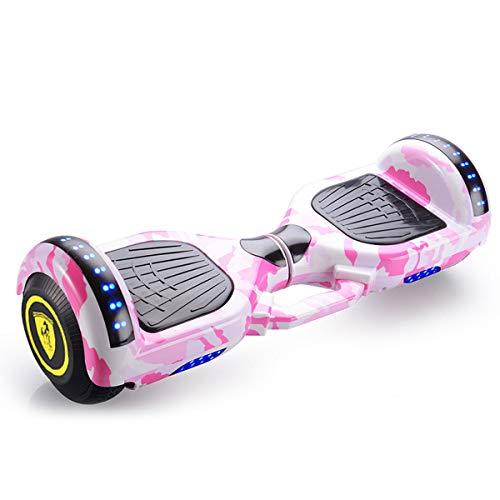 Patinete Eléctrico Auto Equilibrio Hover Board 7 '' Diseño Portátil Portátil Agregado Diseño Elegante Con LED Flash Potente Batería De Litio, Bluetooth, Self Balancing, Juguete Para Niños,Rosado