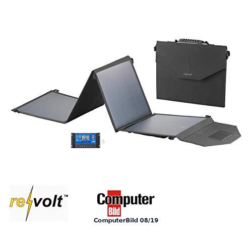 reVolt Solar Laderegler: Faltbares Solarpanel, USB-Laderegler, 4 monokrist. Solarzellen, 50 W (Panel)