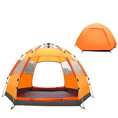 FREEDOL Automatic Opening Tent, Hexangular Hydraulic Big Tent for 4-6 Person, Rainproof And Sunscreen Family Camping Tent for Outdoor Camping,Orange