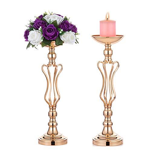 Nuptio 2 Stück Gold Metall Vasen für Mittelstücke für Hochzeit Tisch Party, Hochzeit Mittelstücke für Tische, Zubehör für Hochzeit Mittelstücke, Säulen für Hochzeitsdekor (Kronenstil, 2 X Mittel)