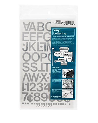 Chartpak Self-Adhesive Vinyl Capital Letters and Numbers, 1 Inch High, Silver, 88 per Pack (01039)