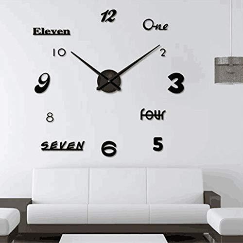 Asvert Orologio da Parete Silenzioso 3D Grande Orologio Adesivo per Impermeabile Preciso Fai da Te 60-120 cm Riempire Vuoto Parete Moderno per Casa, Ufficio, Hotel (Nero)