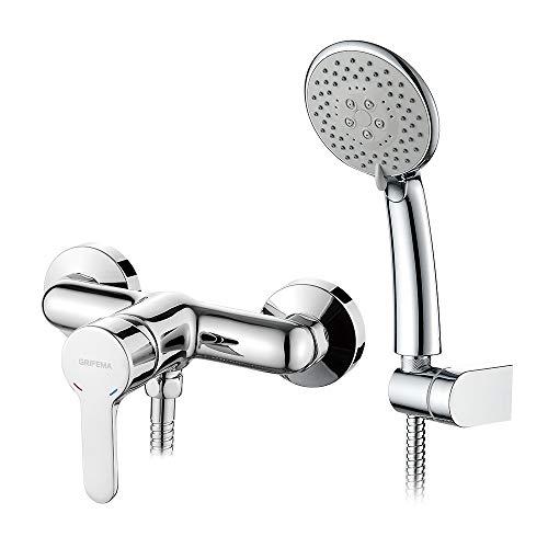 GRIFEMA PORTO-G12003 | Duscharmatur - Brausebatterie mit Brauseschlauch, Handbrause mit 5 Funktionen, und Brausehalter | Einhebel-Brausemischer-Dusche set, Chrom