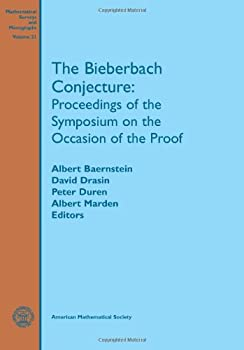 Paperback The Bieberbach Conjecture: Proceedings of the Symposium on the Occasion of the Proof (Mathematical Surveys & Monographs) Book