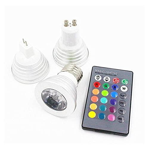 GHC LED Bombillas LED RGB Spotlight Bulbs E27 E14 GU10 GU5.3 MR16 3W Control Remoto Decoración del hogar Color Cambio de lámparas de luz (Talla : GU5.3)