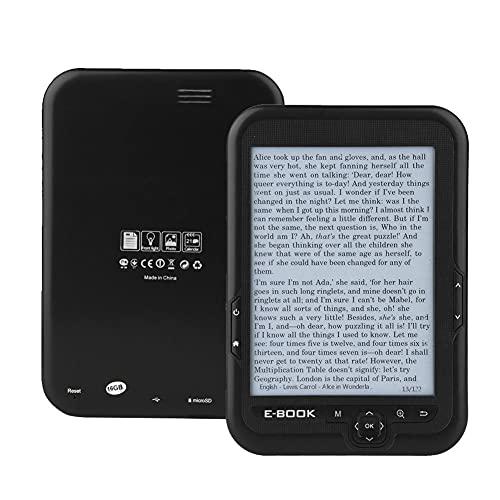 ASHATA Lector de Libros electrónicos, Lector electrónico de 6 Pulgadas, Soporte electrónico Zoom de Fuente/Transformación de Fuente/Marcador /(Black, 16G)