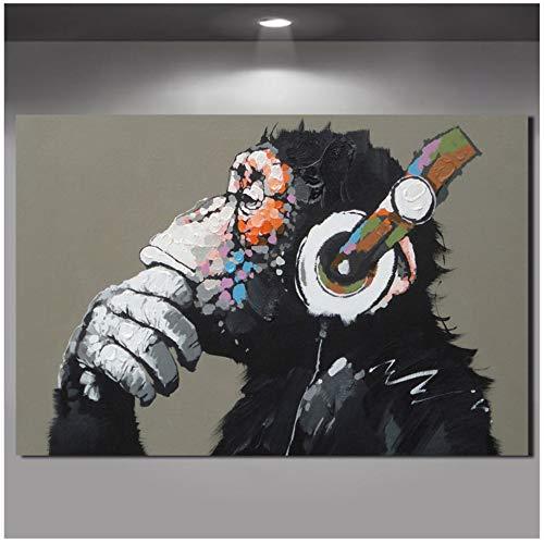 HSFFBHFBH Leinwand Gedruckt Malerei Große Tier Bild Moderne Lustige Denken AFFE mit Kopfhörer Wandkunst Poster für Wohnzimmer Dekor 60x90 cm Kein Rahmen