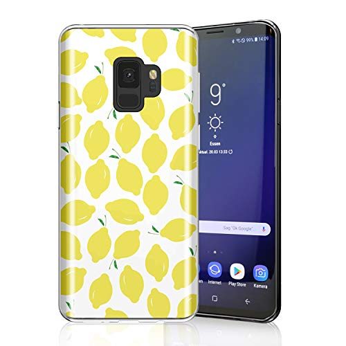 ZQ-Link Lovely Lemony Case for Galaxy S9, Raised Edges Scratch Resistant Lightweight Flexible Soft TPU Protective Cell Phone Cover for Samsung Galaxy S9 Summer Lemons on White
