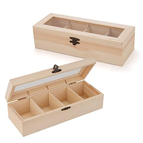 LONGBLE 2X Holzkiste, Teebox mit Deckel und 4 verstellbaren Fächern, Holz Aufbewahrungsbox für Teebeutel Kaffeekapseln Schmuck, Sammler Box Holz-Schatulle Schmuckkiste mit Glasdeckel