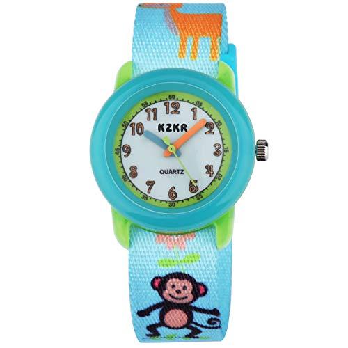 KZKR Kinderuhr Mädchen Jungen analog Quarz Uhr AFFE Nylon Dornschließe Armband mit Catoon Grün
