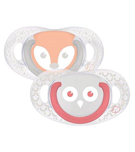 bébé confort Funny Animals Hibou&R Set de 2 Sucettes Natural Physio en Silicone 6/18 Mois