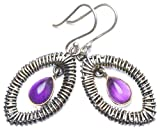 StarGems 925er Sterling Silber Amethyst Einzigartig Handgefertigt Ohrringe 4,45cm Purple X5097