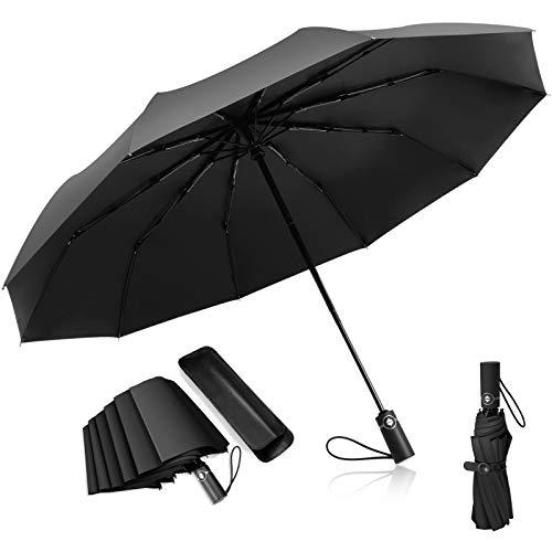 Adoric Schirm Regenschirm automatischer Regenschirm Golfschirm Umbrella Sturmfest Taschenschirm Schützt vor Regen, Wind und Sonne für Herren,Navy blau,33 * 6 * 6 cm,schwarz