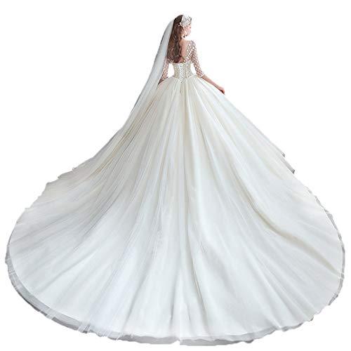 MYW Kant Bead Applique Bridal Wedding Dress Vast Kleur Trailing Tail Verstelbare Lace Up (Color : Light champagne, Size : M)
