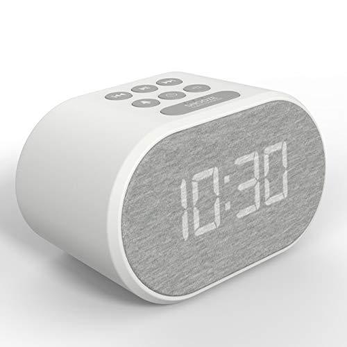 Radio Despertador con Cargador USB y Radio FM, Reloj Despertador Digital,Pantalla con Iluminación Regulable en 5 Pasos, Alimentación de Red con Batería de Refuerzo