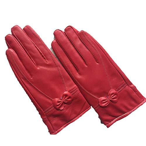 Gants En Cuir Femme Chaude Et Froide Voiture Épaisse Bowknot Gants En Cuir Spécial Style En Plein Air Plaine Mitaines (Color : Rot 2, Size : XL)