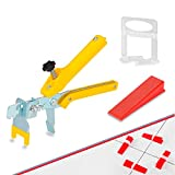 1/16' Tile Leveling System Kit, 600PCS Tile Spacers Clips and 200PCS Reusable Wedges with 1 PC Floor Tiles Pliers for Stone and Tile Installation (200, 1/16')