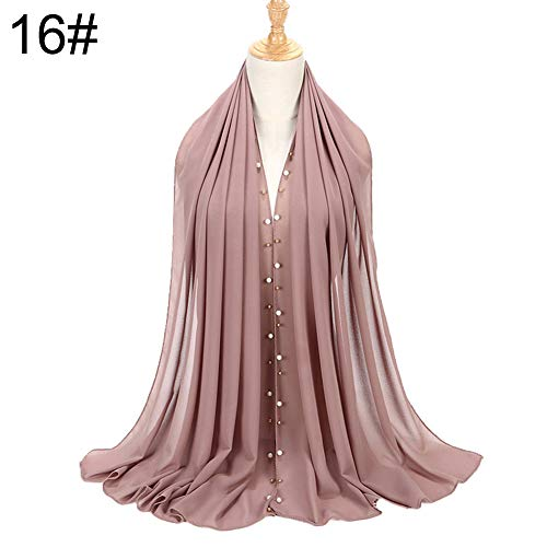 KaariFirefly modischer, muslimischer und arabischer Damen, einfarbig, mit Perlen besetzt, Hijab 16#
