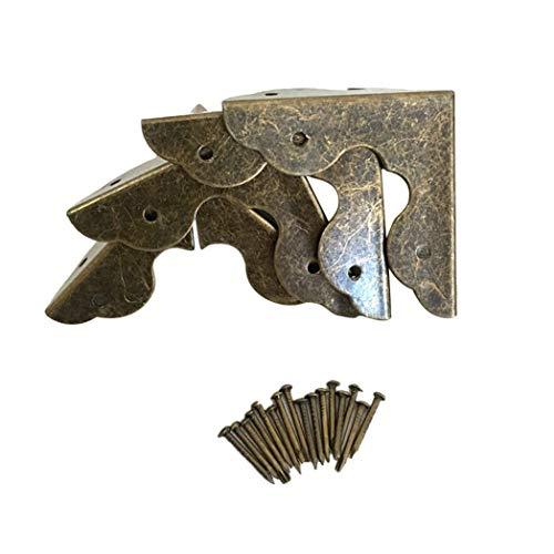 SeaStart 4er-Set Antik Bronze Kantenabdeckung Metall Beschläge Eckenschutz für Tisch Boxen Möbel