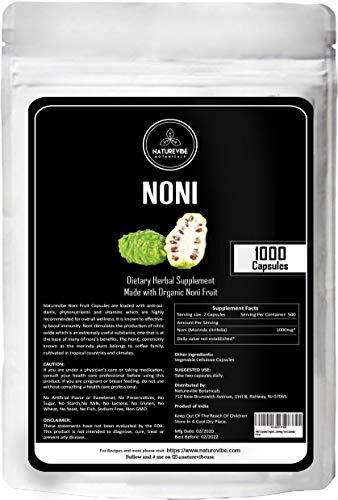1000 Capsules Organic Noni Fruit -100% Organic Noni Fruit Powder, 1000mg Per Serving | Veg Capsules | Supports Immunity System
