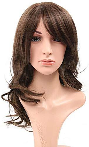 ZGYQGOO Fashion-Brown Frange Oblique Cheveux synthétiques Fibre résistant à la Chaleur