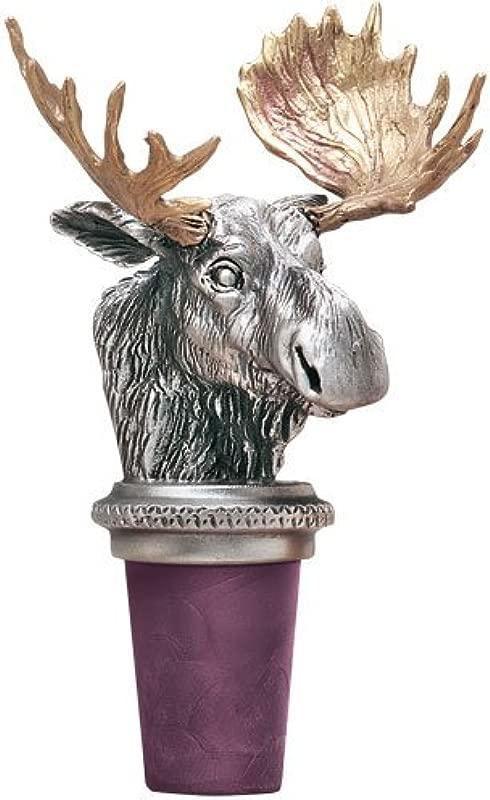 Moose W Brass Antlers Pewter Bottle Stopper