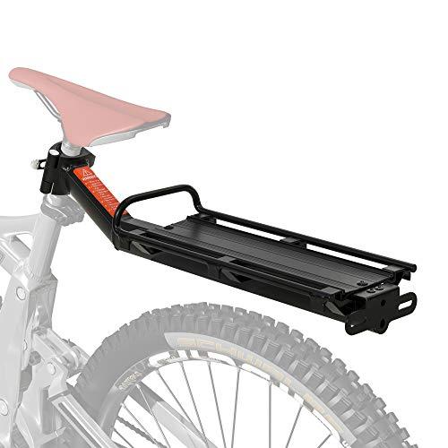 HOMCOM Universal Fahrrad Gepäckträger, Fahrradtasche, Schnellspanner, Cargotasche, Aluminium, Schwarz, 49 x 12 x 14 cm