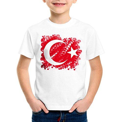 CottonCloud Türkei Kinder T-Shirt Turkey Türkiye Flagge Mondstern, Farbe:Weiß, Größe:116