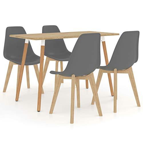 Tidyard Conjunto de Mesa sillas,Mesa Salón y Sillas,Muebles de Jardin Exterior Conjuntos Juego de Comedor 5 Piezas 13# Gris