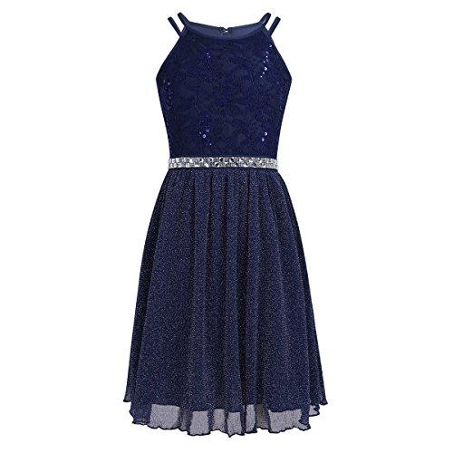 iEFiEL Festliches Kleid Mädchen Kinder Spitzen Kleid Hochzeit Prinzessin Kleider Tüll Festzug Kleid Blumenmaedchenkleid kurz Partykleid Marine Blau 128
