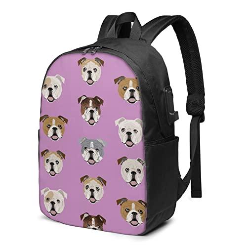 Divertente zaino con bulldog inglese, zaino da viaggio per laptop con porta di ricarica USB per uomini e donne da 17 pollici, Nero , Taglia unica,