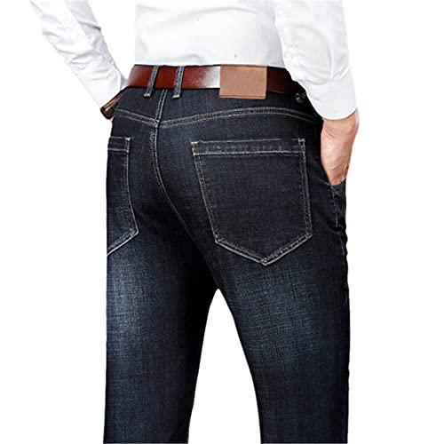 Faxkjeuls Pantalones de mezclilla clásicos de ajuste holgado para primavera y otoño de cintura alta para negocios, casual, color negro y azul, Negro, 94