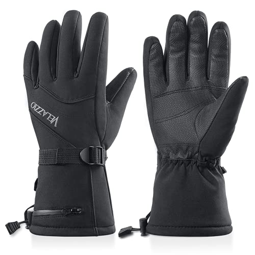 Ski Gloves - Velazzio Waterproof Breathable Snowboard Gloves, 3M Thinsulate Insulated Warm Winter Snow Gloves, Fits Both Men & Women (L/XL)