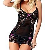 Women Sexy Lingerie Strap Nightwear Cami Sleepwear Lace Bow Chemise Mini Teddy See Through Bodycon Dress Pajamas Hot Pink