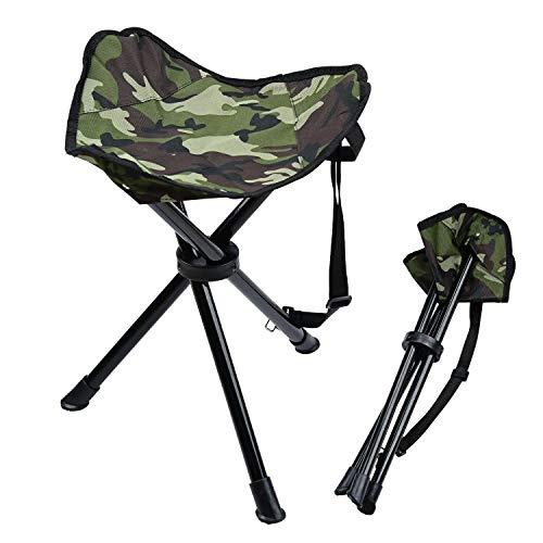 lychee Taburete plegable para acampar al aire libre de tres patas plegable taburete camping playa pesca silla jardín asiento pequeño taburete de viaje (verde camuflaje)