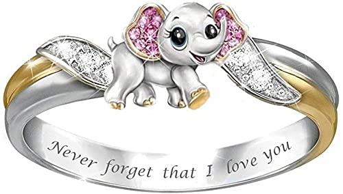 ADIS Anillo creativo para mujer, con texto en inglés 'Never Forget I Love You', con incrustaciones de elefante, para regalo de cumpleaños, joyería de EE. UU. 6_KYRA0911
