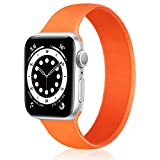 Relting Stretchable Solo Loop Band Compatible with Apple Watch SE iWatch Series 6/5/4/3/2/1 42mm 44mm Sport bands Elastic Women Men Liquid Silicone Replacement Strap (42/44mm, Medium, orange)