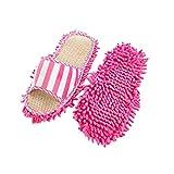 DEtrade Coral Velvet Striped Maschinenwaschbare Pantoffeln Chenille Linen Mopping Slippers