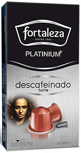 Café Fortaleza Platinium – Cápsulas Compatibles con Nespresso, de Aluminio, Descafeinado Forte, Sabor Intenso, Tueste Natural, Pack 8x10 - Total 80 uds