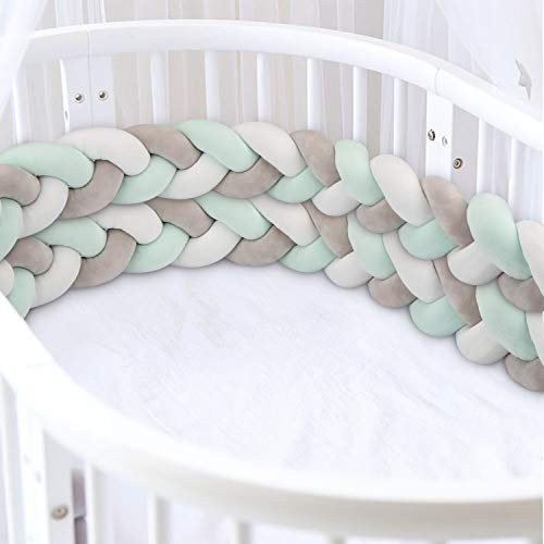 Luchild Baby 2m Intrecciato Culla Paraurti Lungo Nodo Cuscino bambino intrecciato paraurti cuscino treccia per culla intrecciato (Grigio + bianco + verde)
