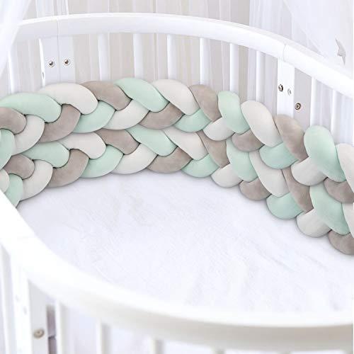 Luchild Bettumrandung Babybett Länge 300cm(118inch) Baby Nestchen Bettumrandung Weben Geflochtene Stoßfänger Dekoration für Krippe Kinderbett(Grau + Weiß + Grün)