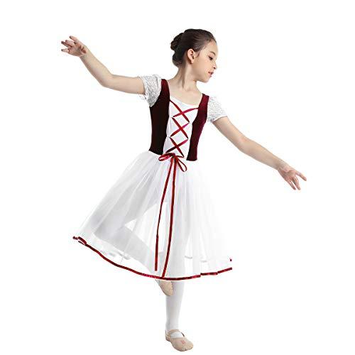 inhzoy Vestido de Danza Clásica para Niña Maillot Ballet con Falda Disfraz de Bailarina Vestido Tutú de Princesa Disfraz Bailarina Traje de Actuación Dancewear Vino Rojo 7-8 años