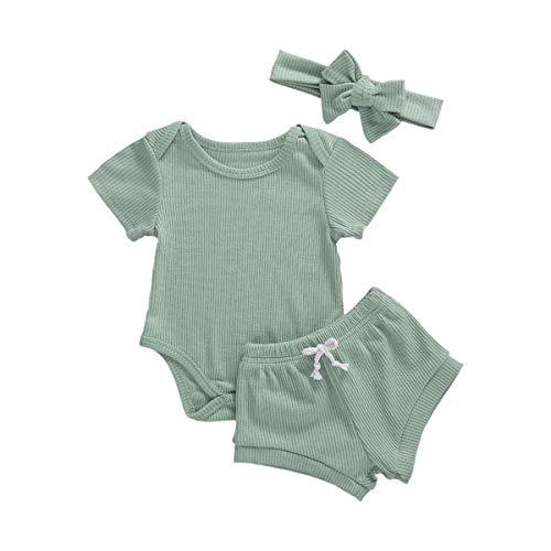 3 Pcs Infant Girls Outfits Cotton Ruffles Long Sleeve Romper Tops Elastic Shorts Headband Autumn Winter Baby Clothes (Green-Short Sleeve, 0-6 Months)