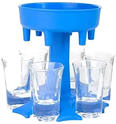 6 Shot Glass Dispenser and Holder -Dispenser For Filling Liquids, Shots Dispenser, Multiple 6 Shot Dispenser, Bar Shot Dispenser, Cocktail Dispenser-YANDING (Blue)