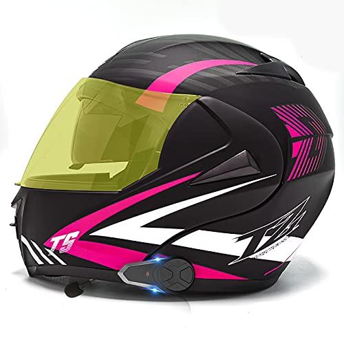 Cascos de motocicleta Bluetooth Doble visera Cara completa abatible Casco de locomotora de motocicleta Altavoz Auriculares Micrófono Intercomunicador Respuesta automática DOT/ECE K,M=57-58CM