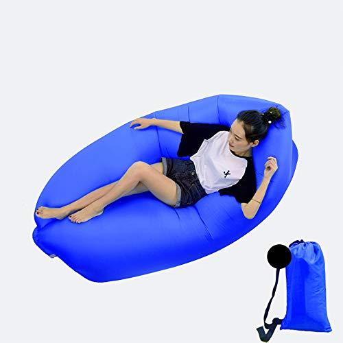 DWHJ Aufblasbare Lehnstuhl, bewegliche aufblasbare Sofa Mittagspause Rollbetten Stuhl, geeignet für Indoor Pool im Innenhof Grass Boden,Dark Blue