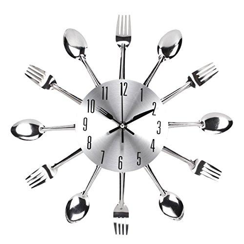 UNIQUEBELLA Besteck Uhr Besteckuhr Küchenuhr Wanduhr Analoger Uhr Metall D 33 cm in Silber