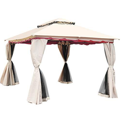 Tangkula 13x10 Feet Patio Steel Gazebo, Large Outdoor Canopy Gazebo with Netting, Side Walls, Zippers, 2 Tier Roof, Steel Canopy Gazebo for Patio, Yard, Garden